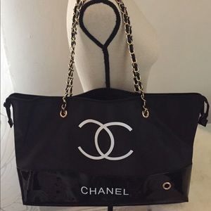Handbags - Chanel Shopping Tote/Travel Bag w Chain VIP Gift